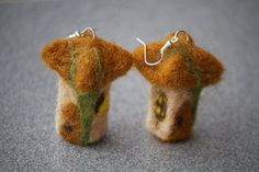 Needle felted earrings Houses by Mazini on Etsy