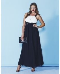 AX Paris Cream and Black Maxi Dress
