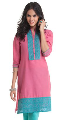 Pink Cotton Kurti with Blue Embroidery Anime Kitten, Kurtis, Tunic Tops, Embroidery, Summer Dresses, Sewing, Pink, Cotton, Blue