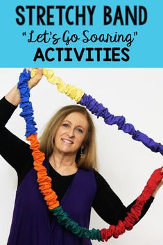 Move high and low with this fun movement activity. You can move without a stretchy band too!   Let's MOVE and LEARN with Music! Sandra #songsforchildren #kidssongs #movement activities #musicandmovement #kidsmovementactivities #preschoolactivities #musicclassactivities