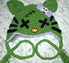 ZOMBIE KITTY too cute hand crocheted hat infant or children sized