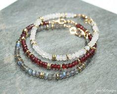 Garnet Bracelet Garnet Jewelry Brass Beaded by AmyJillDesigns Garnet Jewelry, Amethyst Bracelet, Amethyst Jewelry, Gemstone Bracelets, Handmade Bracelets, Gemstone Jewelry, Beaded Jewelry, Beaded Necklace, Handmade Wire