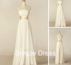 Custom Aline Strapless Floorlength Chiffon Sash by Simpledress -  Change ribbon to a soft green and ad lace over dress.