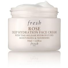 Fresh 'Rose' Deep Hydration Face Cream ($40) ❤ liked on Polyvore featuring beauty products, skincare, face care, face moisturizers, no color and dry skin face moisturizer