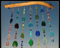 Beach Glass Wind Chime sea glass outdoor windchimes beach glass