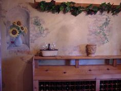 Faux Brick Painting | faux painted brick old plaster and sunflowers by Melissa Barrett Paint ...