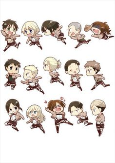 Attack on Chibi!! So cute!! Eren, Armin, Mikasa, Connie, Sasha, Bertholdt, Reiner, Annie, Marco, Jean, Ymir, Christa, Hanji, Levi, and Erwin. Attack on Titan.