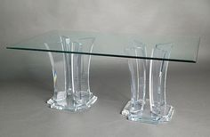 Milano Double Base Acrylic Dining Table from Muniz Plastics in Miami, FL Glass Dining Table Rectangular, Dining Table In Kitchen, Dining Set, Dining Rooms, Lucite Table, Acrylic Furniture, Acrylic Table, Beveled Glass, Dining Furniture