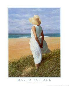 Woman on the Beach Looking to Sea Print. #beach #woman #art