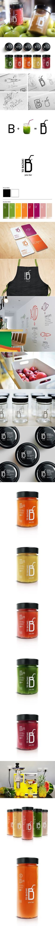 """TO BAZAKI"" Juice Bar – Design Identity. Designed by George Probonas."
