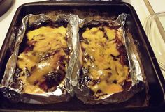 {baked bbq chicken}  this is insanely easy to make AND clean up. Add mushrooms + onions into the foil pack as well.