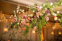 Amy Osaba Events | Anna and Spencer Photography #hangingflowers