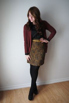 Closet Full Of Thrills: Outfit (Black + Burgundy + Yellow) - burgundy cardigan, black blouse, tweed skirt, mustard yellow belt