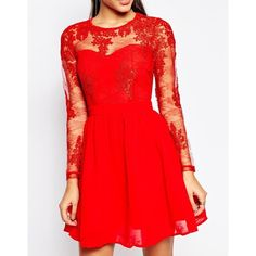 Missguided Lace Sleeve Prom Dress ($67) ❤ liked on Polyvore featuring dresses, cocktail prom dress, tall dresses, red bustier, bustier dress and red prom dresses