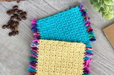 free washcloth/dishcloth crochet pattern Quick Crochet, Learn To Crochet, Diy Crochet, Double Crochet, Crochet Tools, Easy Crochet Projects, Dishcloth Crochet, Foundation Single Crochet, I Love This Yarn
