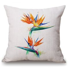 Fashionable Tropical Plants Pattern Square Shape Flax Pillowcase (Without Pillow Inner)