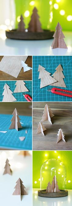 Gingered Things, DIY, veneer, christmas, xmas, christmas tree, wood, decoration, Furnier, Deko, Bäumchen, Weihnachten