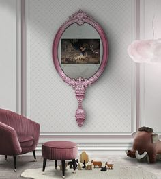 Let your little girl experience design by having the most glamorous bedroom decoration. Use the Audrey chair for a romantic style and finish with Circu's magical mirror with a TV inside and allow your little girl to celebrate design. 2017 Inspiration, Interior Design Inspiration, Interior Ideas, Kids Bedroom, Bedroom Decor, Bedroom Ideas, Basement Bedrooms, Trendy Bedroom, Master Bedroom