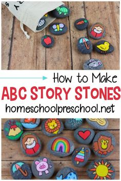 How to Make and Use Alphabet Story Stones for Kids These DIY Alphabet Story Stones are easy to make and a fabulous resources to have on hand when teaching the alphabet to young kids. Preschool Lessons, Toddler Preschool, Toddler Crafts, Preschool Activities, Crafts For Kids, Arts And Crafts, Rock Crafts, Alphabet Crafts, Alphabet Activities