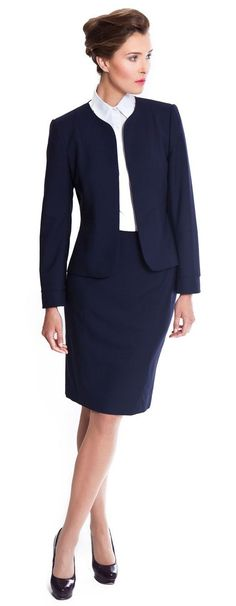 navy blue skirt suit | Skirt the Ceiling | skirttheceiling.com