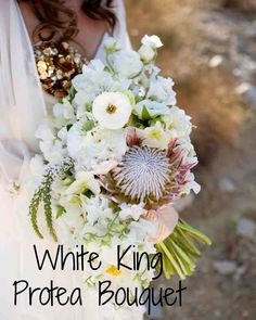 15 Protea Wedding Bouquets and Arrangements | Martha Stewart Weddings - Bloem Hill created this white arrangement of king proteas, sweet peas, ranunculus, veronicas, poppies, and garden spray roses.