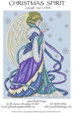 Joan Elliott Christmas Spirit - Cross Stitch Pattern. Stitched on fabric of your choice using DMC floss, Kreinik #4 Braid & Mill Hill beads. Stitch count: 124W