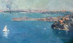 Sydney Harbour 1907 by Arthur Streeton which shows the city from Mosman. It sold…