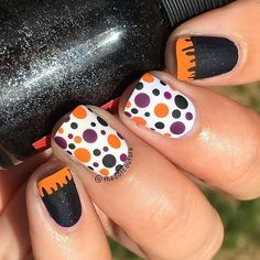 Halloweeny French tip / dotticure and some Frankenstein-inspired stitching! More details at @cutegirlshairstyles (clickable link in my bio!)