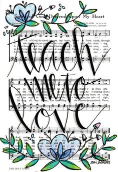 Spirit of God Descend Upon my Heart 5x7 Print Hymn Fine Art Hymnal Watercolor Ink Painting Praise Sheet Music Calligraphy Hand Lettering by Growing Meadows Tai Bender Bible Journaling