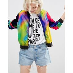 ASOS Bomber In Tie Dye Jersey Mesh ($49) ❤ liked on Polyvore featuring outerwear, jackets, multi, zip jacket, zipper jacket, jersey jacket, mesh bomber jacket and bomber style jacket