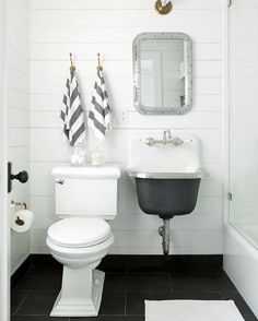 This adorable bathroom by @jennywolfinteriors is just too much  #shiplap #sink Ahhhh!  Want to see us take it on? Vote now!