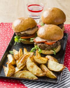 Burgers with Bean Hummus and Wedges - cheaper and so much tastier than take-aways #BudgetFriendly #Burgers #Mains
