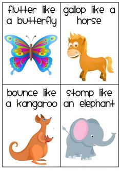 20 different animal movement cards to help your students gross motor skills.I like to use these at transitions times!