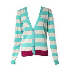 V-neck Contrast Colour Stripe Cardigan ($53) ❤ liked on Polyvore