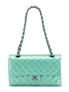 Chanel Mint Green Large Quilted Patent Leather Classic 2.55 Double Flap