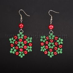 Flower Glass Pearl Beads Dangle Earrings for ChristmasEJEW-JE01615-01-1