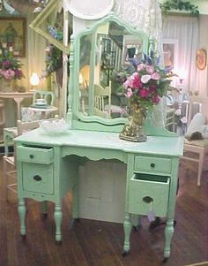 Shabby Chic Vanity Dresser Mirror Hand Painted Robins Egg Green Distressed 495 Www Etsy