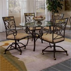 5 Piece Round Dining Table Set with 4 Castered Chairs Espresso Finish  love this