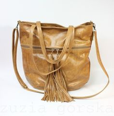 Ledertaschen - Mass Bag Leather Caramel Fringe - ein Designerstück von ZuziaGorska bei DaWanda