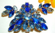 Vintage Juliana Brooch Earring Set Royal & by BrightgemsTreasures, $49.50
