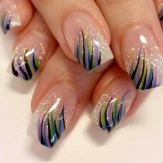 Nail Art Designs In Every Color And Style – Your Beautiful Nails Sparkle Nails, Fancy Nails, Trendy Nails, Glitter Nails, Black Glitter, Blue Nails, Purple Sparkle, Orly Nails, Purple Gold