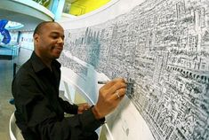 autistic ink drawings of cities - Google Search Stephen Wiltshire, Autistic Artist, London Pictures, Vida Real, London Skyline, Ny Skyline, Extraordinary People, Reproduction, Black Artists