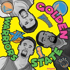 """Golden State Warriors cover art  inspired by De La Soul's classic album  """"3 feet high and rising"""" featuring the Warriors Klay Thompson, Kevin Durant and Stephen Curry. Vector artwork by Tony.psd"""