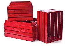 Asst of 5 Wood Crates, Red on OneKingsLane.com