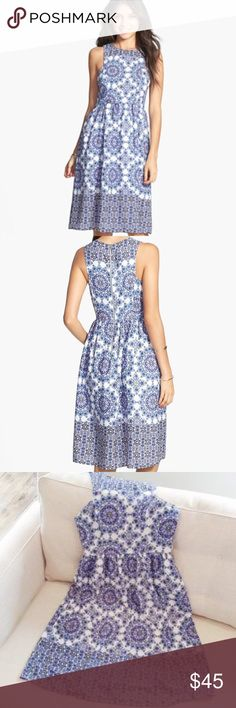"Everly Holland Tile Print Midi Dress Beautiful azure tile prints give European sophistication to this lovely midi-length dress. 41"" length (size Medium). Back zip closure. Lined. 100% polyester. Dry clean or hand wash, dry flat. By Everly; made in the USA. No Trades. True to size. Juniors: S=3-5 Women's: S=0-2 Everly Dresses Midi"
