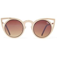 Quay Invader Sunglasses Cat Eye Metallic Frame Irridescent Lense (842.020 IDR) ❤ liked on Polyvore featuring accessories, eyewear, sunglasses, gold glasses, gold sunglasses, cat eye sunglasses, gold lens sunglasses and cateye sunglasses