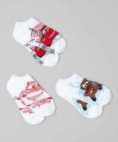 White & Red Cars Socks - Set of Three