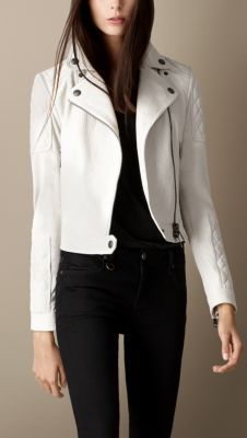 36a9492bfc8ef white quilted leather jacket - burberry Burberry Women, Burberry Brit, Cool  Jackets, Winter