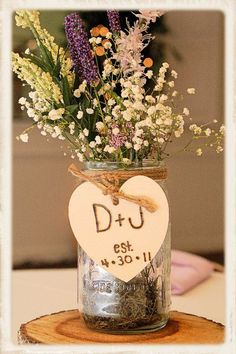 Already using mason jars/wildflowers for the wedding centerpieces but love the cute labels.
