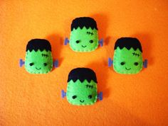 Frankenstein Pin Brooch Felt Halloween Accesories by OkashiBurochi